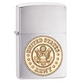 ZIPPO 280ARM Army Crest Emblem Brushed Chrome Finish Lighter - Standard Issue Series
