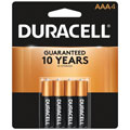 DURACELL MN-2400B4 AAA Cell Alkaline Batteries - 4-Pack