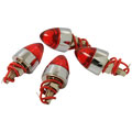 ROADPRO RP-7872 Lighted Tip License Plate Screws - Red Chrome Finish 4-Pack