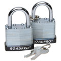 ROADPRO RPLS-40/2 40mm Laminated Steel Padlock with Bumper Guard - 1 Shackle 2-Pack